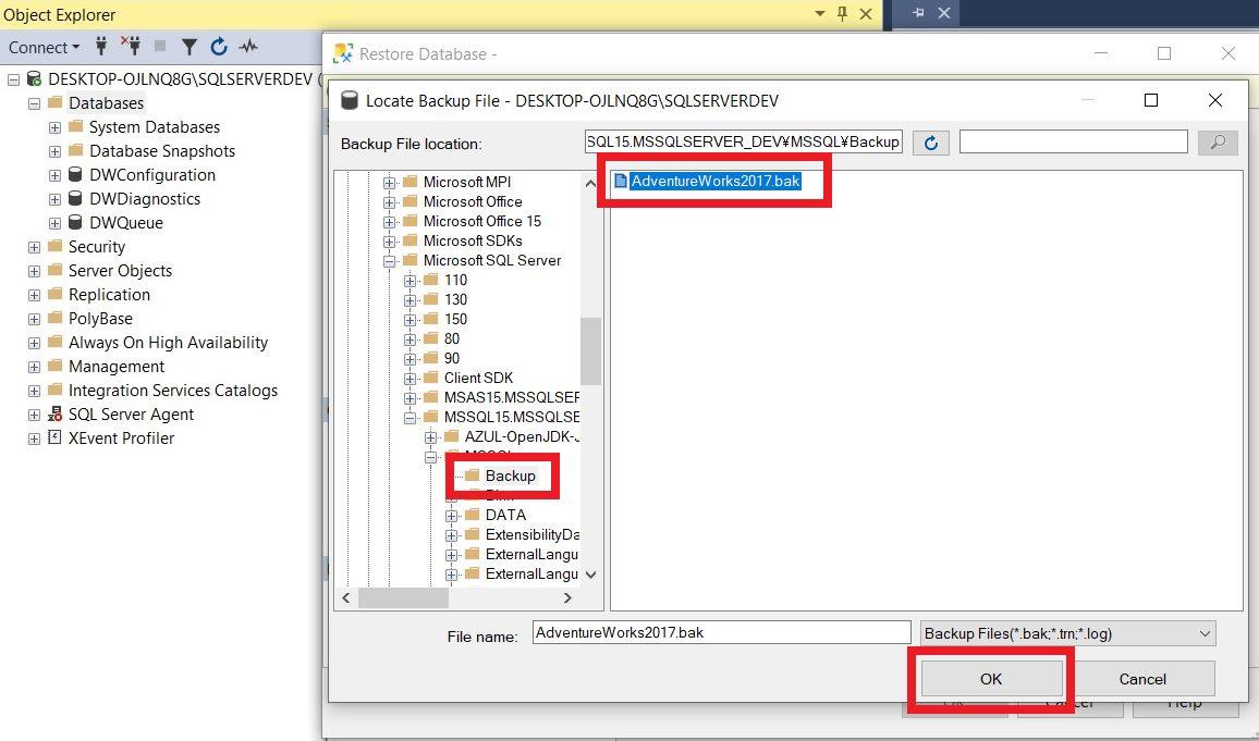 Restoring sample database using ssms Step 4